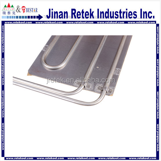 Aluminum tube on plate evaporator for refrigerator and freezer