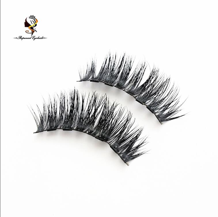 100% 3D Mink Makeup Cross False Eyelashes with 4magnets Handmade natural long eyelashes without glue magnetic eyelash <strong>001</strong>