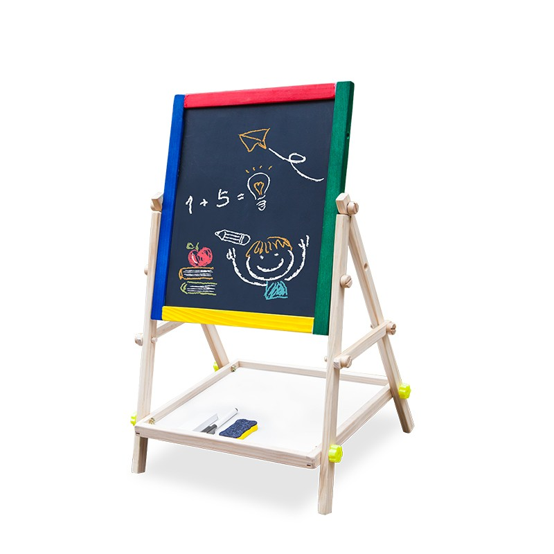 Wooden toys magnetic children small easel with chalkboard and whiteboard