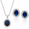 UK Designed Oval Natural Blue sapphire Jewelry Set
