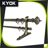 KYOK european style metal curtain finial, single/double curtain bracket , electroplating curtain rod ring