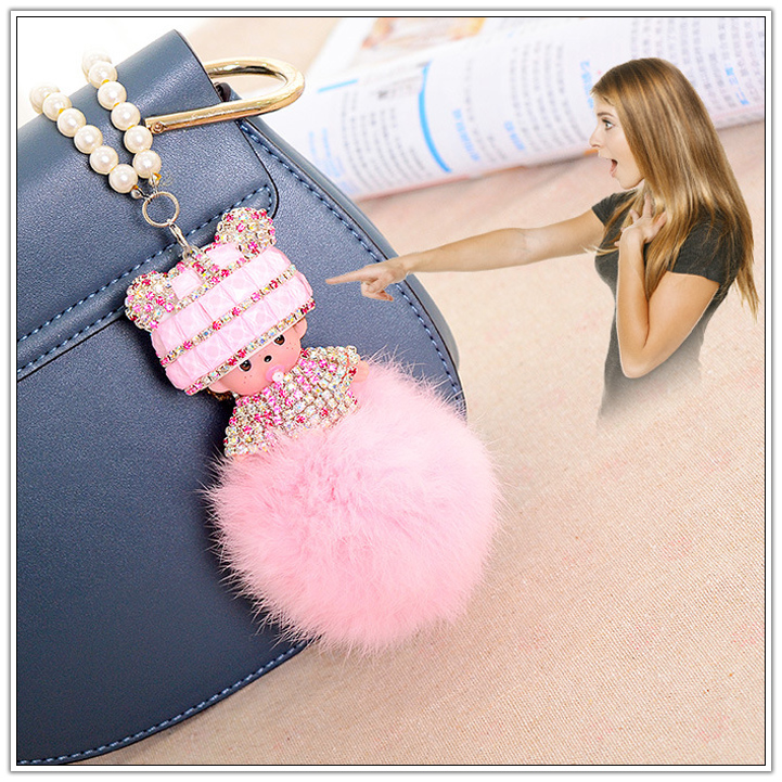STABILE natural raccoon fur ball/fur tail/fox fur ball keychain