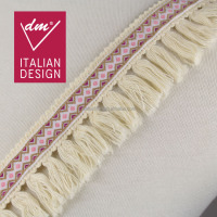 Beautiful design decorative pink webbing off white cotton rope carpet fringe