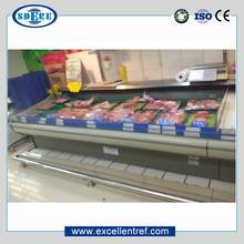 fresh meat display showcase refrigerator of service counter type in supermarket