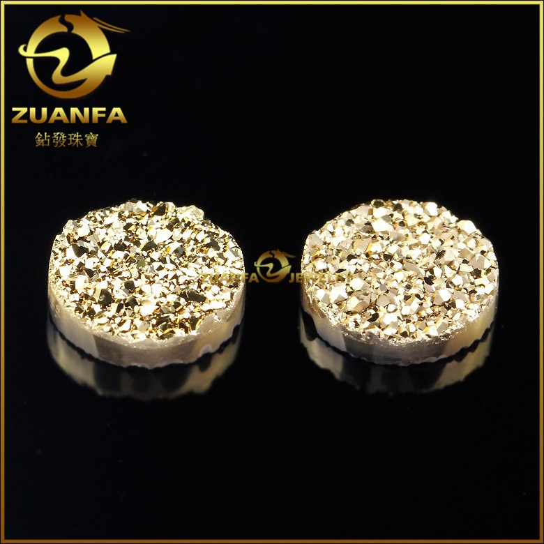 Hot Sale Gold Plated Round Natural Agate Wholesale Druzy Beads