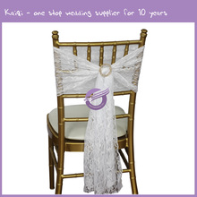 BS00152 Customized wholesale white wedding lace chair sashes