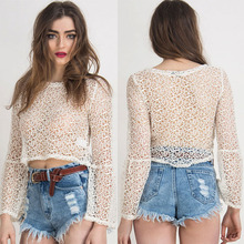White color mesh fabric long sleeves sexy design crop top for ladies