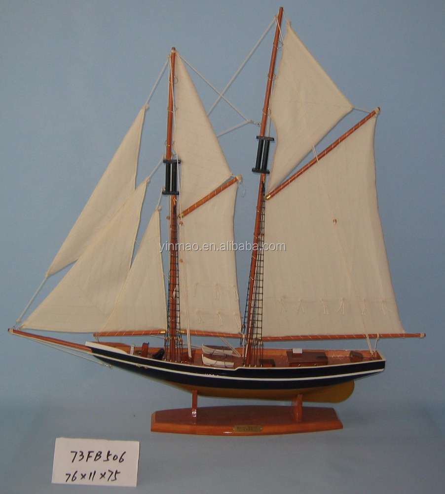 Wooden sailing boat model,76x11x75cm, BLUENOSE with thin body, Canada famous boat replic model