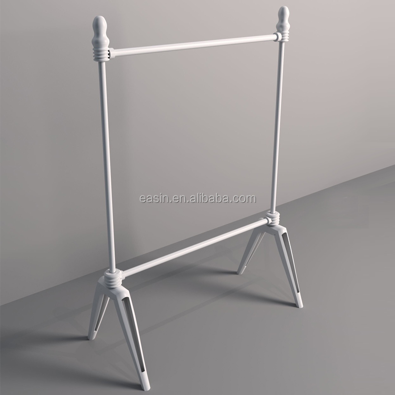 Rolling Single Rail Metal Clothing Hanging Rack