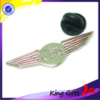 NAFS custom small size nickel plate wings rubber clutch lapel pin