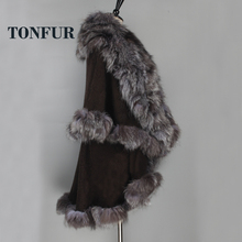 Thick Warm Special Top Design Genuine Fox Fur And Pig Leather Overcoat