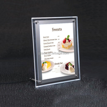 Single side desk stand super slim LED crystal light box A4 photo frame acrylic <strong>sign</strong>