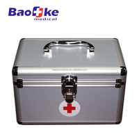 Home use first aid kit aluminium alloy medical box with handle, trayer and locker
