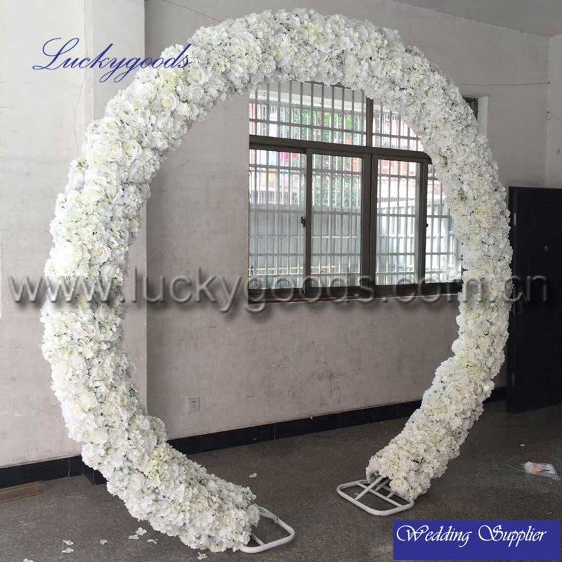 factory sale round shape rose and hydrangea white wedding flower arch for stage decoration wholesale