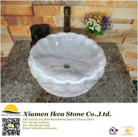 White Carrara Carved Marble Sink