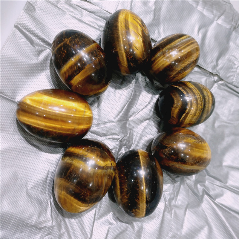 50mm natural gold tiger eye stone crystal yoni eggs