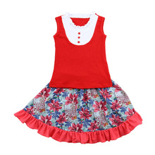 2016 wholesale 2 Pieces Boutique Clothing Set For Child Clothes Set Baby Tank Top And Skirt Set Summer Girls Outfit