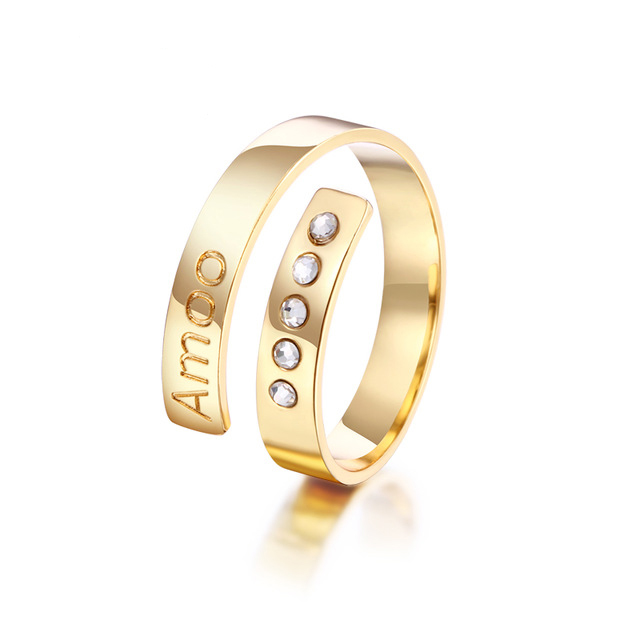 Most popular bar zirconia rings cuff initial custom name personalized bling gold jewelry ring for women