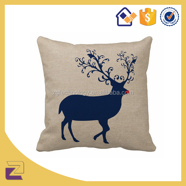 2016 New Christmas Decorations Deer Design Antlers Patterns Square Cushion Cover Pillow Cases