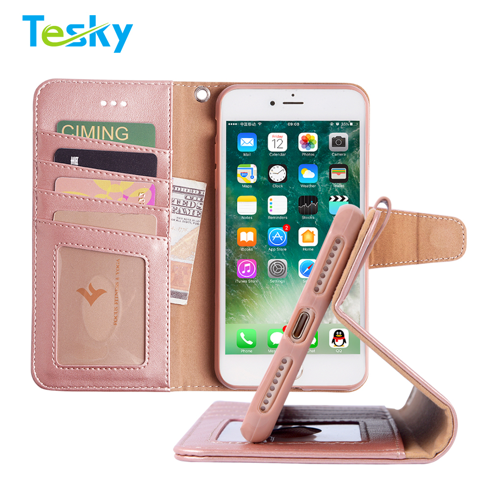2018 New Arrival Hot Selling Flip Leather Wallet Phone Case for iPhone 7Plus