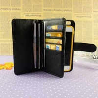 Fashion brand luxury Ostrich flip leather wallet phone cases for samsung S 6 with card holders wholesale