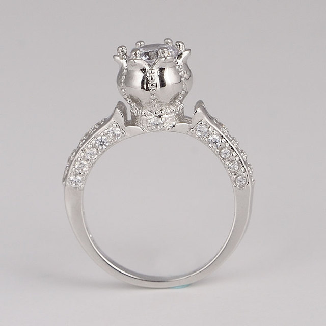 hot selling 2017 italian costume jewelry 925 silver engagement rings princess cut for women