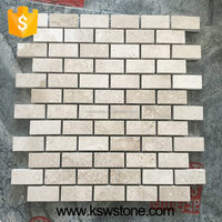ivory Grey limestone mosaic beige color chip size 22*47mm