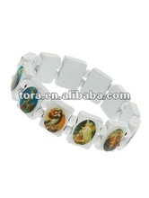 fashion white wood picture stretch religion bracelets 2012