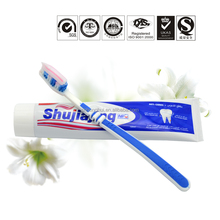 Guangzhou factory original brand names gum protect french teeth whitening two color red strip toothpaste
