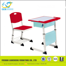 Color customized adjust student table and chair, wooden attached school desk and chair