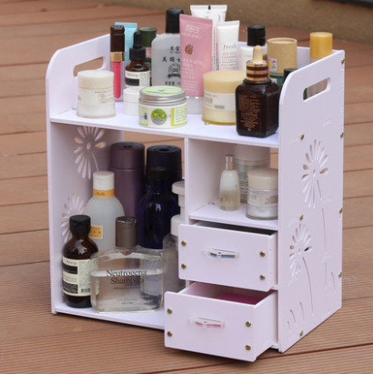 Receive waterproof bathroom rack shelf with drawers can be hanging wooden desktop boxes cosmetic make-up case