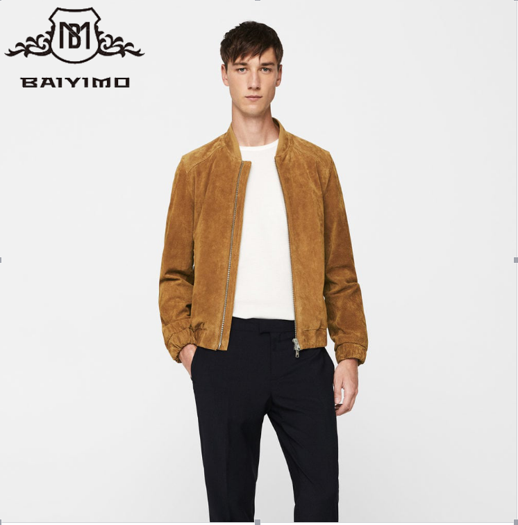 2017 High Quality Fashion Men Casual Plain Zipper Bomber Jacket