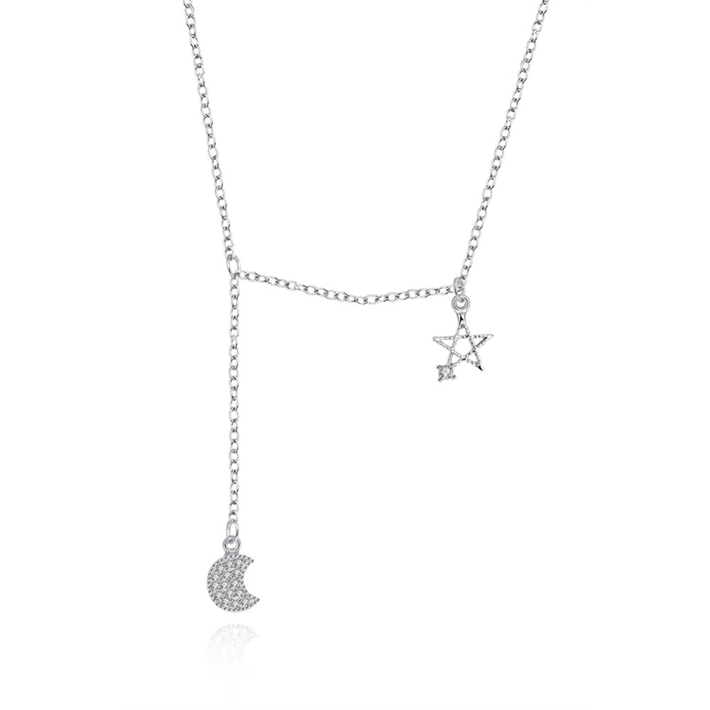 925 Sterling Silver Moon And Star Charm Necklace Moon Star Shaped Charm With Diamond