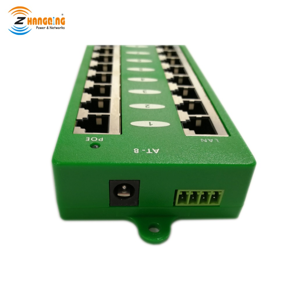 ZQ-8 Port Gigabit PoE Patch Panel, With Auto Negotiating Active Mode A PoE Injector For Access Point PoE Camera