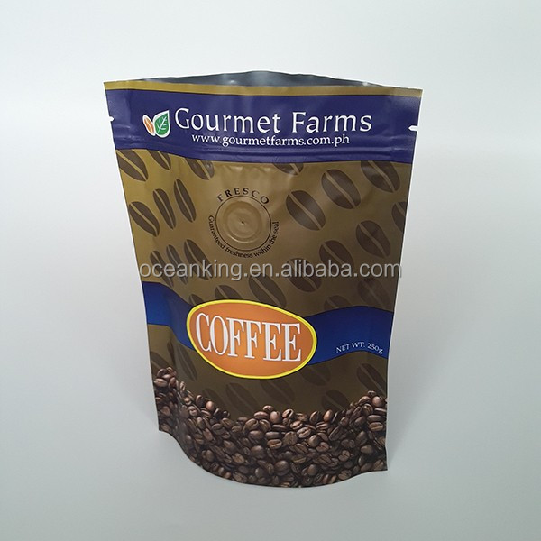 coffee packaging aluminum laminated foil standing up valve pouch