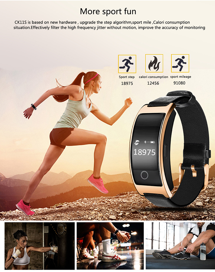 2017 sphygmomanometer blood pressure smart bracelet CK11S bluetooth heart rate monitor wristband watch for android and ios