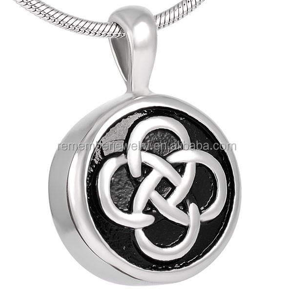 SRP8255 Fresh Choice Black Enamel Round Celtic Knot Cremation Jewelry Pendant