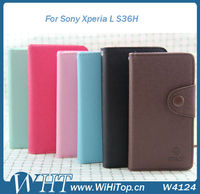 For Sony Xperia L S36H Leather Case Credit Card Skin Cover.WHTS004