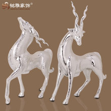 Christmas home decoration items silver plated polyresin deer statues for table decor