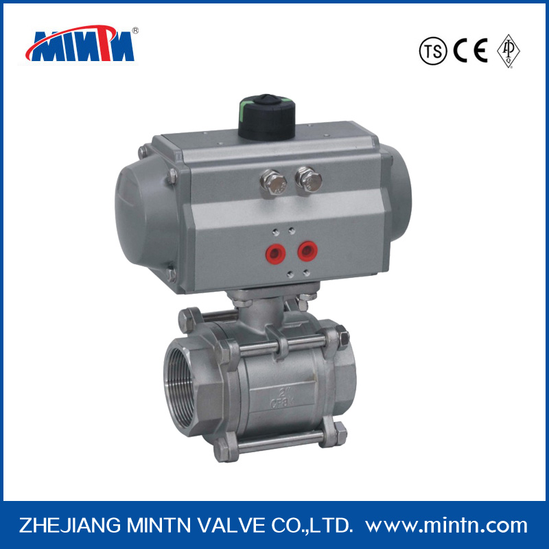 Pneumatic ss316 ball valve Thread Connection 3-pcs low price