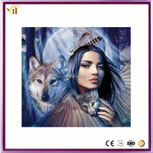 Africa Girls and wolf wall Diamond Paintings