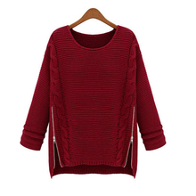 Spring cable plain pullover sweaters with side zips