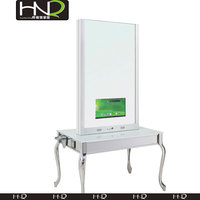 Double Sided Hair Salon Mirror Station With TV For Hairdressing Salon Styling Stations For Cheap Salon Furniture