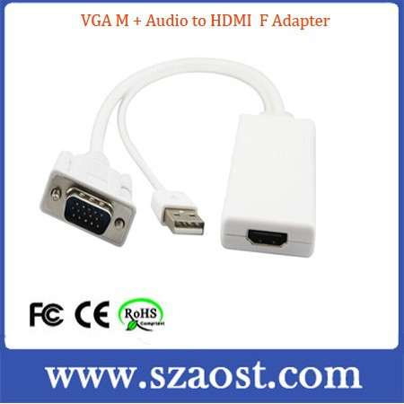 VGAM TO HDMI with Video Audio Data cable Converter Adapter For HDTV PC HDMI to VGA Cable