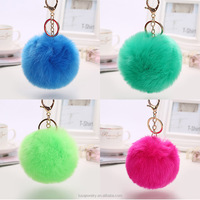 Fashion wholesale 8cm faux fur pom pom keychain ball keychain for handbags KEL004