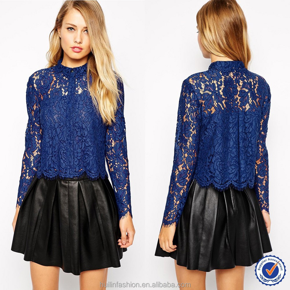 2015 Wholesale Latest Design Women Navy Blue New Fashion Lace ...
