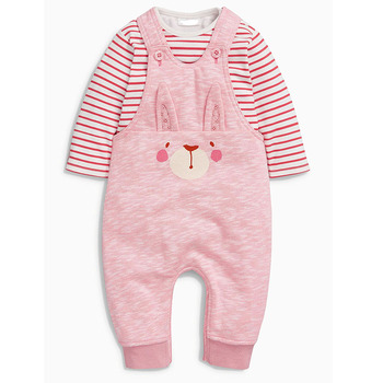 100%cotton Pink color Dungarees And baby bodysuit Set