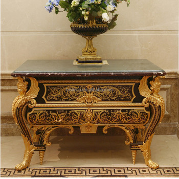 French Louis XV 24K Gold Plated Hallway Console table/ Antique Wooden Decorative Marquetry Entrance Side Table With Marble Top