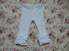 Fashionable Design Solid Color icing ruffle Baby Girls Long Pants