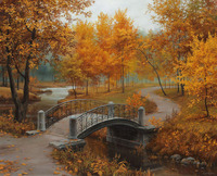 GZ166- 40*50 realist famous modern art painting for fall bridge full diamond painting